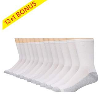 Hanes Men's Big & Tall Cushion FreshIQ Crew Socks, 12 + 1 Bonus Pack