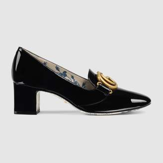 Gucci Patent leather mid-heel pump with Double G