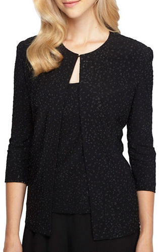 Alex Evenings Alex Evenings Plus Beaded Jacket and Scoopneck Top Set