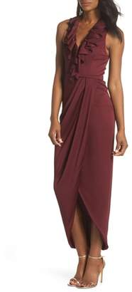 Shona Joy Luxe Plunging Frill Maxi Dress