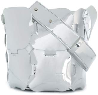 Paco Rabanne mirrored small hobo tote