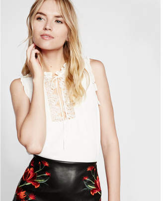 Express lace bib front mock neck tank $44.90 thestylecure.com