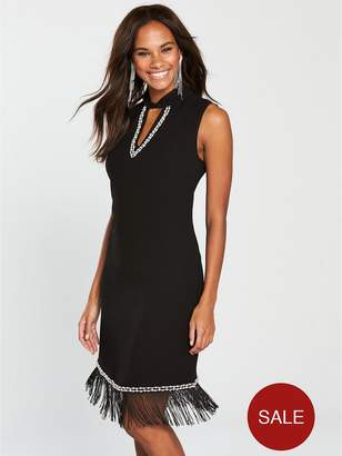 Wallis Embellished Fringe Dress - Black