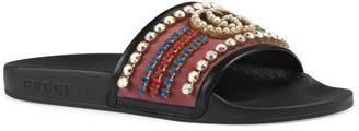 Gucci Pursuit Crystal Slide Sandal