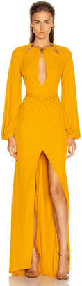 Dundas Keyhole Long Sleeve Dress in Yellow | FWRD