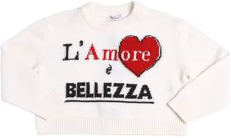 Dolce & Gabbana L'amore Intarsia Knit Wool Crop Sweater