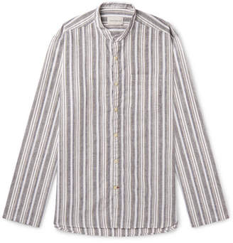 Oliver Spencer Grandad-Collar Striped Cotton And Linen-Blend Shirt