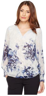 Calvin Klein - Long Sleeve Printed Peasant Blouse Women's Blouse $79.50 thestylecure.com