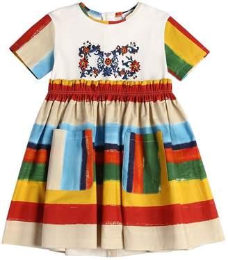 Dolce & Gabbana Stripes Cotton Jersey & Poplin Dress
