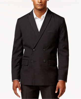 INC International Concepts Men's Jace Slim-Fit Double-Breasted Plaid Jacket, Only at Macy's $129.50 thestylecure.com
