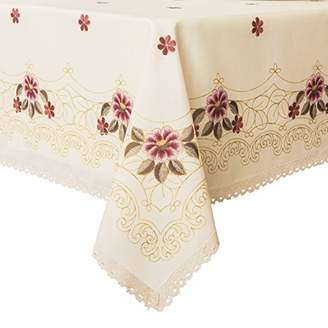 Wewoch Decorative Print Lace Water Resistant Tablecloth Wrinkle Free and Stain Resistant Fabric Tablecloths for Dining Room 60 Inch by 104 Inch