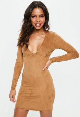 Missguided Brown Long Sleeve Faux Suede Dress