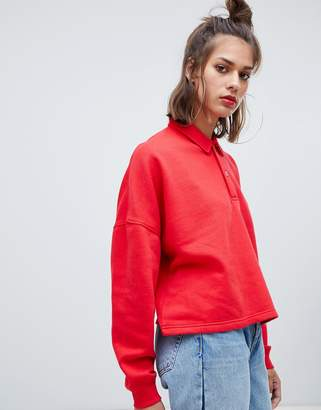 Pull&Bear long sleeved rugby top in red