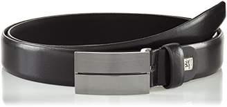 LINDENMANN Mens leather belt/Mens belt, business belt, leather belt curved with plate buckles,Größe/Size:, Farbe/Color: