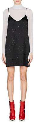 Amiri Women's Crystal-Embellished Silk Satin Slipdress - Black