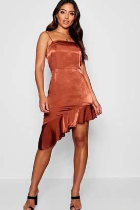 boohoo Hammered Satin Square Neck Asymmetric Mini Dress