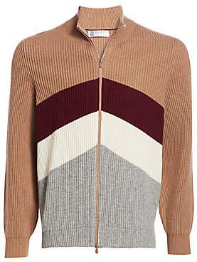 Brunello Cucinelli Men's Sport Graphic Rib-Knit Zip Front Sweater