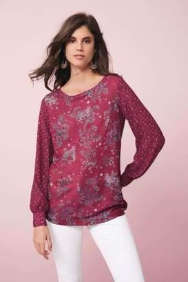 Next Womens Pink Long Sleeve Print Mix Top