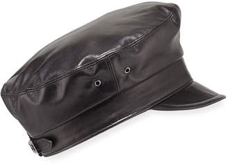 Eric Javits Night Porter Leather Newsboy Cap