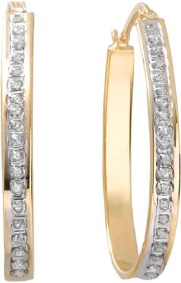 Mystique Diamond 18k Gold Over Silver Pear Hoop Earrings