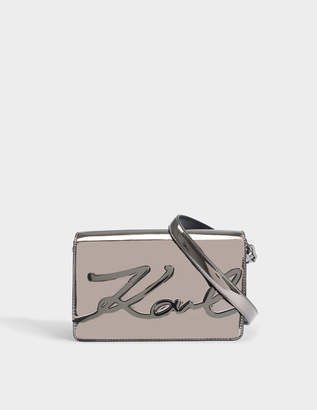 Karl Lagerfeld K/Signature Gloss Shoulder Bag in Gunmetal Eco Leather