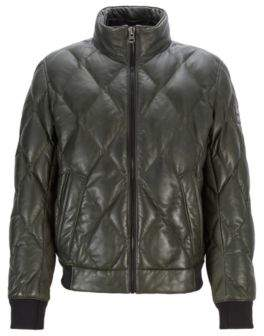 BOSS Quilted bomber jacket in olive-tanned leather