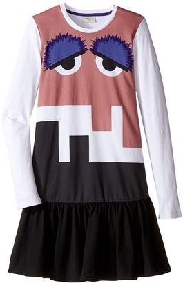 Fendi Kids - Long Sleeve Dress w/ Monster Logo Graphic Girl's Dress $220 thestylecure.com