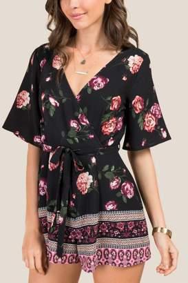 francesca's Ailish Floral Surplus Tie Back Romper - Black