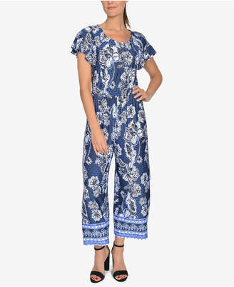 NY Collection Printed Zip-Front Jumpsuit