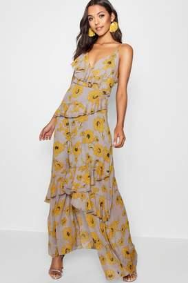boohoo Floral Ruffle Detail Maxi Dress
