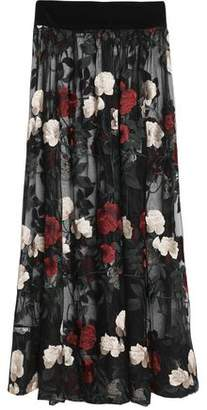 Ganni Pleated Embroidered Tulle Maxi Skirt