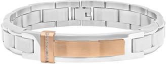 FINE JEWELRY Mens Diamond-Accent Stainless Steel Rose-Tone IP ID Bracelet