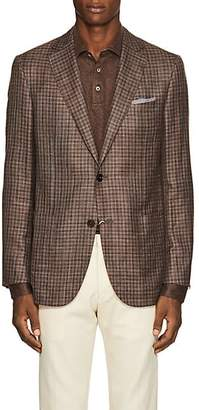 Pal Zileri MEN'S CHECKED WOOL-BLEND TWO-BUTTON SPORTCOAT - BEIGE/TAN SIZE 44 R