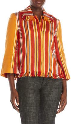 pink tartan Beach Stripe Fringe Jacket $475 thestylecure.com