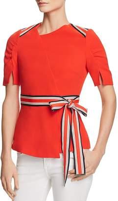 Karen Millen Striped-Trim Ruched-Sleeve Top - 100% Exclusive