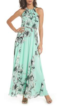 Eliza J Belted Chiffon Maxi Dress