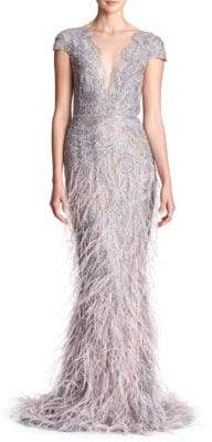 Marchesa Cap-Sleeve Lace Metallic Gown