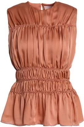 Roksanda Shirred Silk-Satin Top