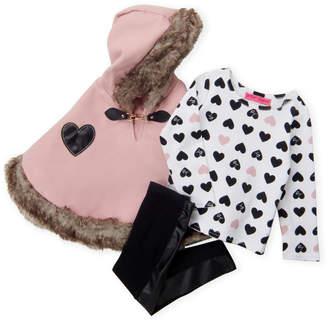 Betsey Johnson Toddler Girls) 3-Piece Pink Faux Fur Trim Poncho & Leggings Set