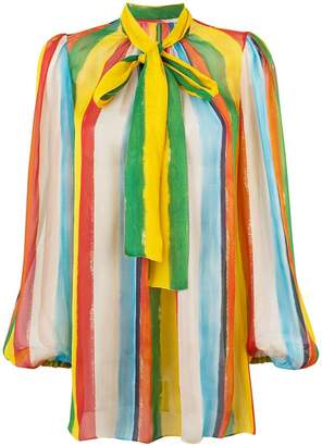Dolce & Gabbana rainbow stripe blouse with pussy bow
