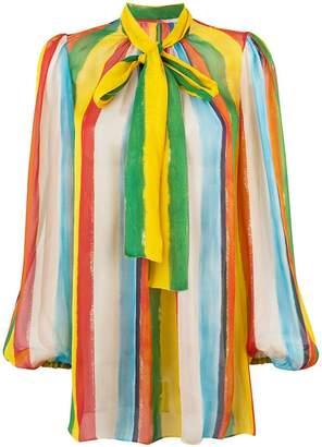7a5cdf0519 at Farfetch · Dolce & Gabbana rainbow stripe blouse with pussy bow
