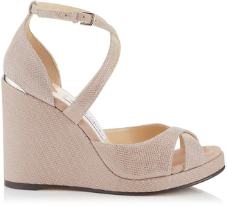 Jimmy Choo ALANAH 105 Ballet Pink Glitter Mesh on Suede Wedges