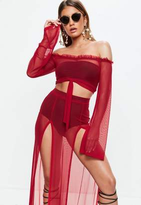 Missguided Red Mesh Bardot Tie Front Top