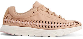 Nike - Mayfly Woven Faux Leather-trimmed Faux Suede Sneakers - Sand $120 thestylecure.com