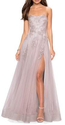 La Femme Strapless Tulle Gown with Floral Appliques & High Skirt Slit