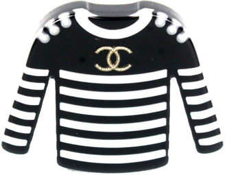 Chanel Sweater Brooch Pearl Gold-tone Black/White