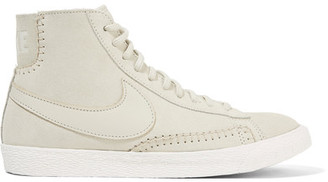 Nike - Blazer Mid Suede And Shearling High-top Sneakers - White $130 thestylecure.com