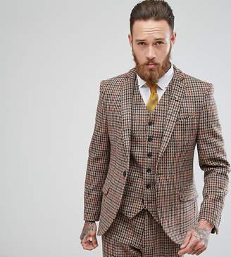 Heart & Dagger Harris Tweed Skinny Suit Jacket In Check