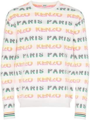 Kenzo striped logo intarsia cotton-blend jumper
