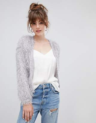 New Look textured cardigan in light gray